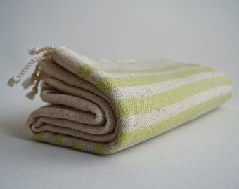 Shipping with FedEx - NEW Special Production Turkish BATH Towel Peshtemal - Linen - Green Striped