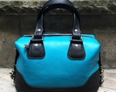 READY to SHIP -  Small Turquoise Goatskin Leather zippered boxed Satchel - Satchel Handbag - Laurel Dasso
