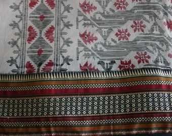 Geometry and borders  - Vintage Cotton Sari (5 m / 6 yds)