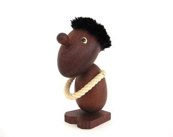 Danish Teak Figure Optimist Pessimist Hans Bolling Style Wooden Figurine Danish Modern Design Mid Century Decor