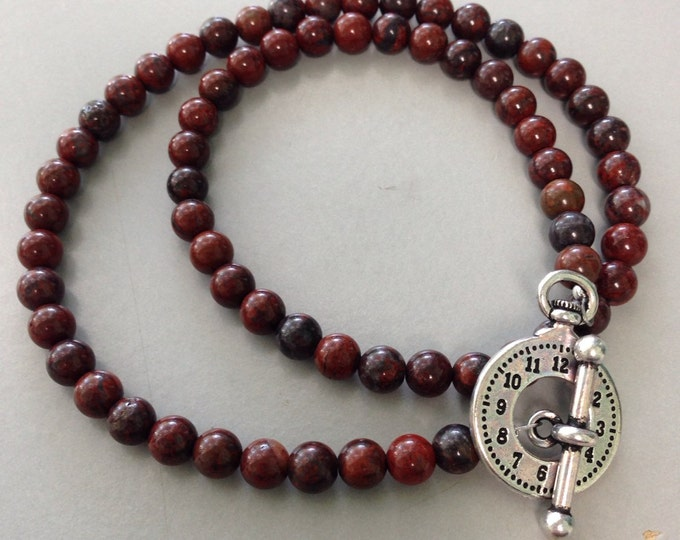 Brecciated Flame Red Jasper 6mm Round Bead Necklace With Watch Toggle Clasp