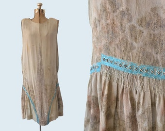1920s Sage Green Flapper Dress size S