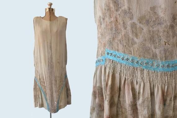 1920s Sage Green Flapper Dress size S