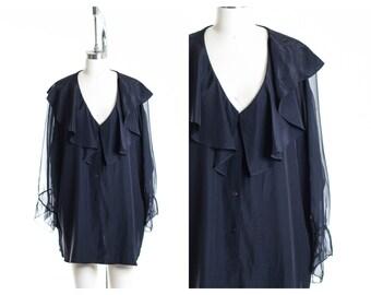 Vtg Sheer Sleeve Blouse Size XL