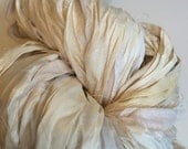 Sari silk ribbon, 100 grams, large skein of rich quality pure silk craft ribbon. Fair trade yarn. Unique for jewelry making and more.