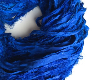 Premium quality sari silk ribbon, Unique eyelash edging, Amazing soft silk, 5 yards, Midnight blue iridescent ribbon yarn.