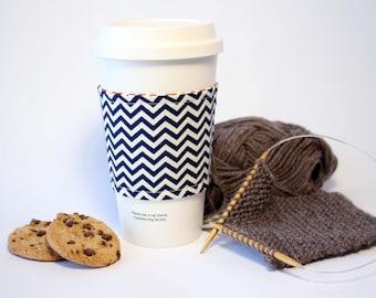 Navy Blue and Orange Chevron Reversible & Reusable Coffee Cup Sleeve, Coffee Cozy, Cup Cozy, Tea Cozy (Standard Size)