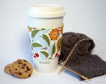 Vintage Floral Look Reversible & Reusable Coffee Cup Sleeve, Coffee Cozy, Cup Cozy, Tea Cozy (Standard Size)