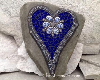 Cobalt Blue Mosaic Heart, Mosaic Rock, Mosaic Garden Stone, Home Decor, Garden Gift, Gardener