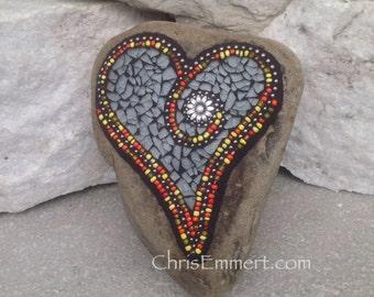 Mosaic Heart, Smoked Gray Heart, Mosaic Rock, Garden Stone, Home Decor, Gardener Gift, Garden Decor,
