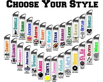 Personalized Water Bottles, Sports Water Bottle, Basketball, Football, Soccer, Volleyball, Cheer, Hockey, Softball, Baseball, Swim, Team
