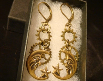 Antique Bronze Moon and Star with Gears Steampunk Earrings (2166)
