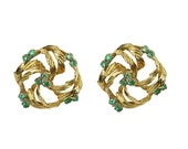 Vintage! Natural Colombian Emerald & Gold Circular Women's Earrings 14k