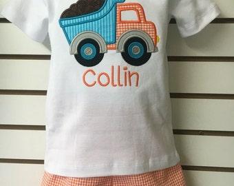 Personalized custom dump truck applique shirt with orange & White Gingham check seersucker Shorts