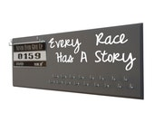running, Running Medal Holder and Race Bib Hanger RUNNING  - Every race has a story - to have trained hard and finished the race.