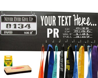 custom running medal holder - Marathon medals display rack - create your own - PR - white your own quote above the PR