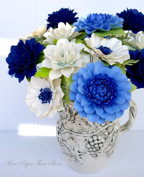 Handmade Paper Flowers - Table Decorations  - Stemmed Flowers - Bouquet - Set of 24 - Navy - Blue - White - Made To Order