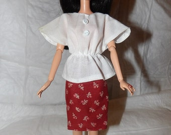 White bat wing top with buttons & rust floral skirt for Fashion Dolls - ed828