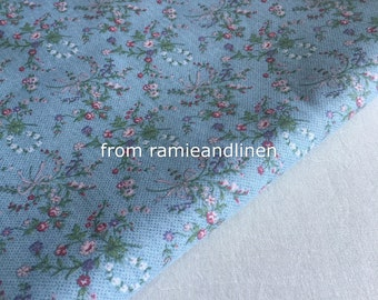 """cotton fabric, vintage rose bouquet on grey blue, half yard by 44"""" wide"""