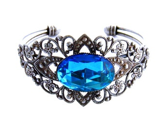 Blue Crystal Bracelet, Bridal Bracelet, Blue Cuff Bracelet, Wedding Cuff Bracelet, Blue Wedding Jewelry, Bermuda Blue Bride, Prom Jewelry