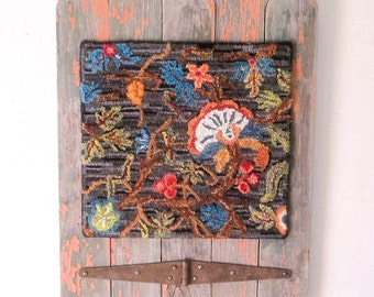 Crewel Work Hooked Rug Primitive Wall Art