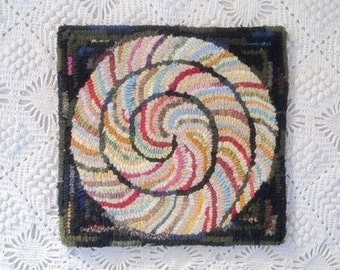Hit or Miss Spiral Hooked Rug Primitive Style