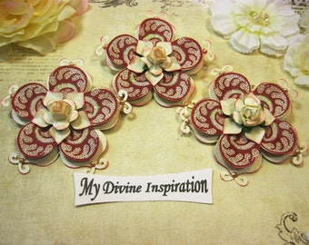 Ivory and Burgundy Handmade Paper Embellishments, Paper Flowers for Scrapbook Layouts Cards Mini Albums Tags and  Paper Crafts