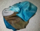 SOLD Silk scarf / Tropical beach / hand painted / sand and waves / FREE shipping