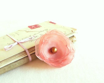 Shimmery Peach Blossom - Clip or Headband - Free Shipping in US