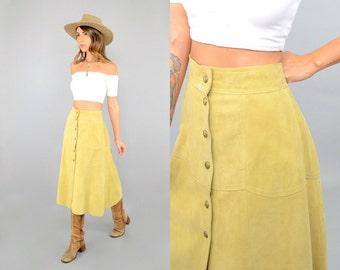 70's Ecru SUEDE Midi Skirt