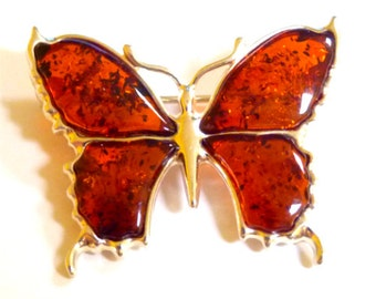 Baltic Amber Jewelry Butterfly Pin Brooch Cognac 925 Silver