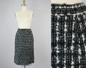"""1960s Vintage Black Boucle Wool Midi Skirt (XS, S; 25"""" Waist)"""