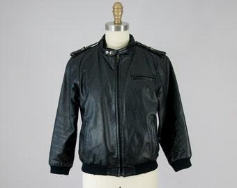 1980s Vintage Black Leather Tiny Fit Bomber Jacket (XS)