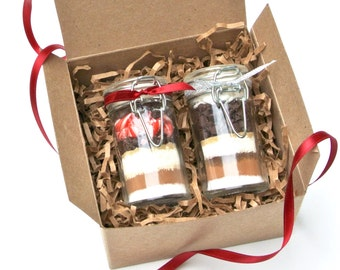 Hot Chocolate Gift Set, 2 Mini Hot Cocoa Mixes in Snap Top Glass Jars, Cocoa Gift Set, Gourmet Hot Chocolate Sampler, Secret Santa