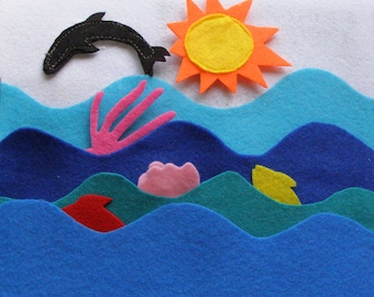 Under The Sea Quiet Book Page / Quiet Book / Quiet Activity Book / Birthday Gift For Toddler / Learning Book / Childrens Book /Felt Book