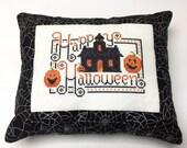 Fall Decor, Halloween Decor, Finished Cross Stitch, Cross Stitch Sampler, Happy Halloween, Halloween Cross Stitch