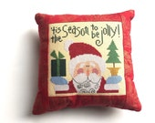 Christmas Pillow, Completed Cross Stitch, Finished Cross Stitch, Cross Stitch Christmas, Lizzie Kate Cross Stitch