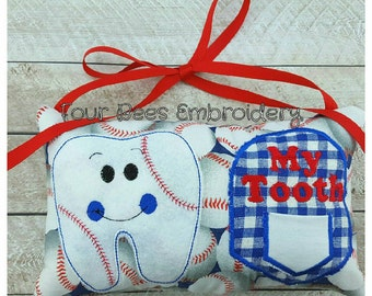 Custom personalized baseball tooth fairy name pillow door hanger pocket embroidered personalize