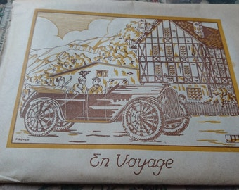 Fabulous pack antique French writing paper and envelopes unused En Voyage  ATTIC FIND c1920  Belle Brocante