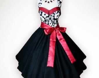 Bunny Elegant Black & White Floral 50s Pin up Rockabilly Swing Dress Full Swing Skirt Plus Size 18 20 22