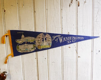 Vintage Washington DC Souvenir Pennant - White House - Capitol Building - Monument and Cherry Blossoms - 1940s or 1950s