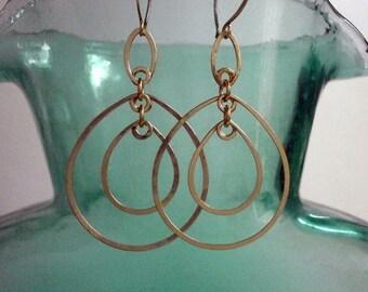 Long Gold Double Teardrop Earrings Oval Hoop Dangles Lightweight 14k Gold Fill Earrings Hammered Wire Jewelry