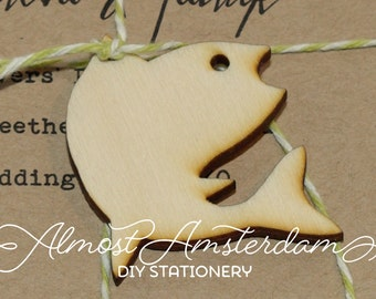 Wooden Tuna Fish Charms - Embellishments - Invitation Decorations - Please Select Pack Size