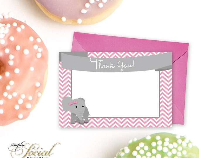 Pink Elephant Baby Shower Thank You Card Pink Chevron INSTANT DOWNLOAD PRINTABLE