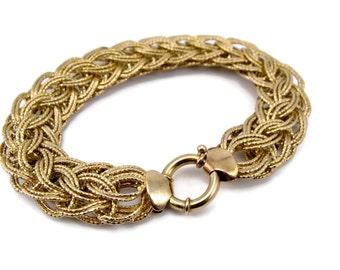 Ross Simons Sterling Silver Vermeil Bracelet, Weave Bracelet, Gold Wash, 17 Grams, Estate Jewelry, Vintage Bracelet, 925 Bracelet