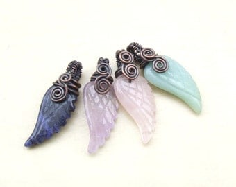 Angel wing necklace, sodalite amethyst rose quartz amazonite pendant, crystal jewelry, gift for girl