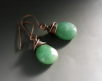 Green aventurine earrings, spiritual jewelry, drop healing stone copper earrings, rustic look jewelry, birthday gift
