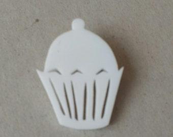 CLEARANCE white acrylic cupcake brooch