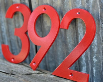 Red - Powder Coated Aluminum Numbers with matching screws