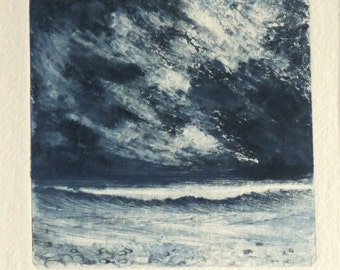 Original collograph print with drypoint elements ocean storm from the beach